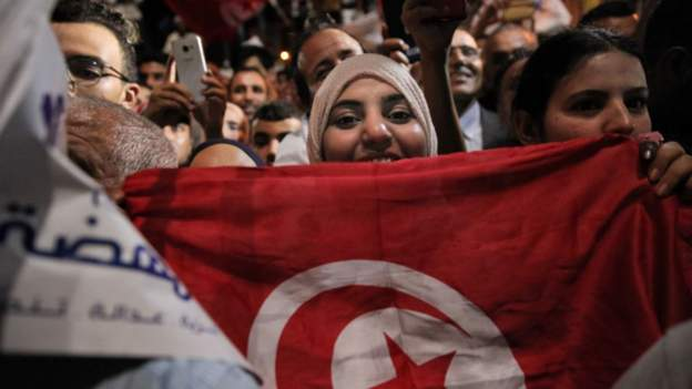 Supporters of Ennahda hit the streets to celebrate their election win at the beginning of October