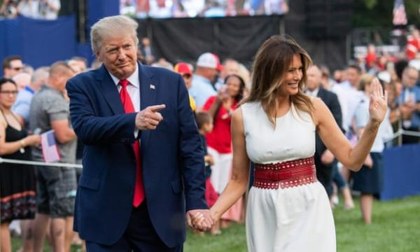 US president Donald Trump and First Lady Melania Trump host 4 July celebrations at the White House, where he claimed the US had made 'a lot of progress' against coronavirus. Photograph: Saul Loeb/AFP/Getty Images