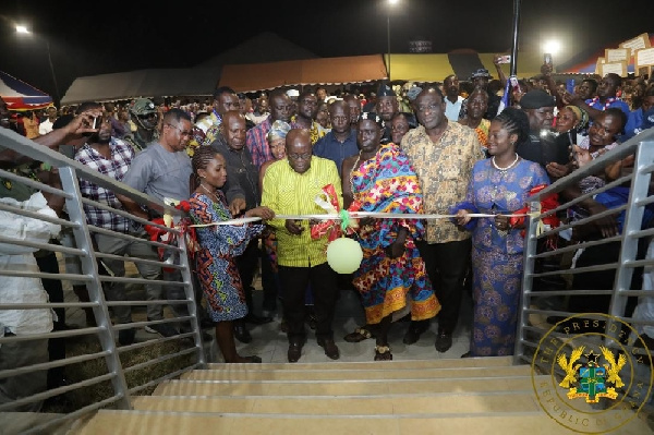 President Akufo-Addo cutting sod to open the business center
