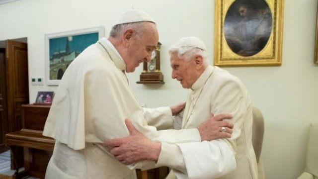 Pope Benedict (R), who retired in 2013, said he could not remain silent on the issue of priestly celibacy