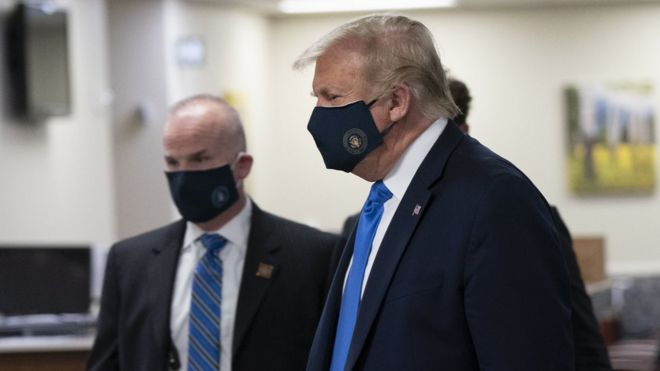 Donald Trump wore a face mask in public for the first time last Saturday
