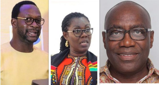 [From left to right]: CEO of MTN Ghana, Mr. Selorm Adadevoh; Minister of Communications, Mrs. Ursula Owusu-Ekuful; and the CEO of the Multimedia Group, Mr. Kwasi Twum