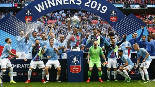 Manchester City beat Watford 6-0 in the 2019 FA Cup final to complete a domestic treble