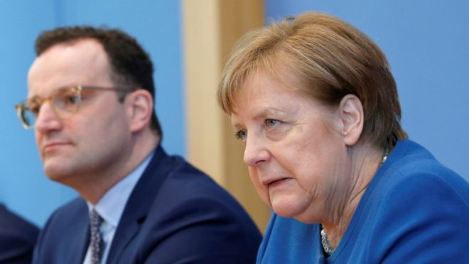 Chancellor Merkel addressed reporters alongside Health Minister Jens Spahn