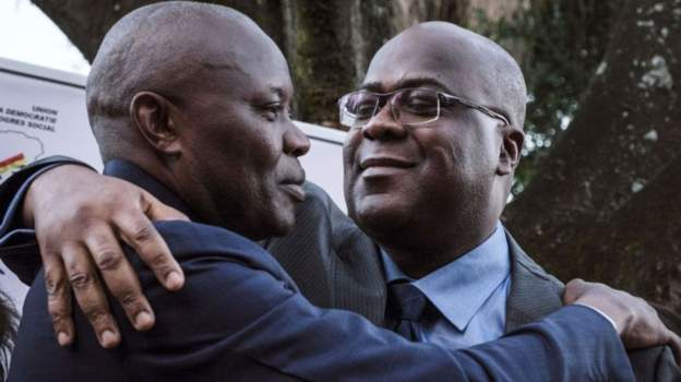 Vital Kamerhe (L) supported Félix Tshisekedi (R) in the presidential election