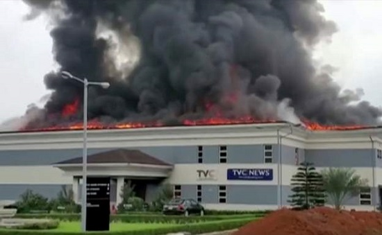 TVC News office was attacked and burnt down during the protests