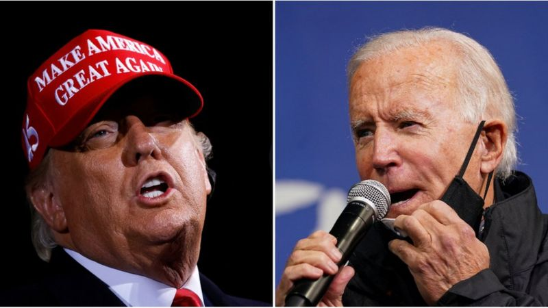 Donald Trump and Joe Biden both campaigned in key battleground states on Sunday