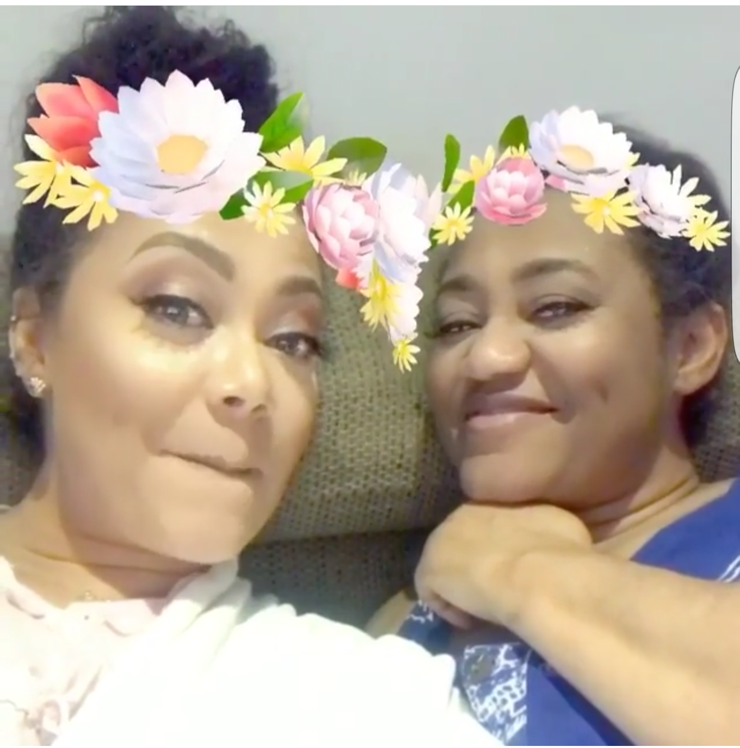 Actress Nadia Buari and his mother Mrs Buari on some snap chat play