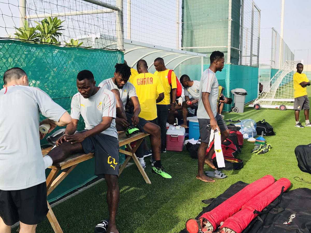 Kwadwo Asamoah and Kasim Nuhu gets ready for training