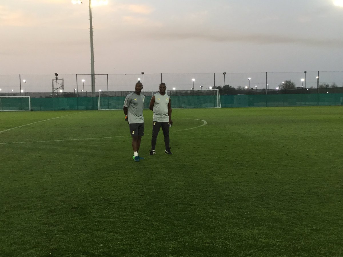 (from right) Coach Kwesi Appiah and assistant Ibrahim Tanko