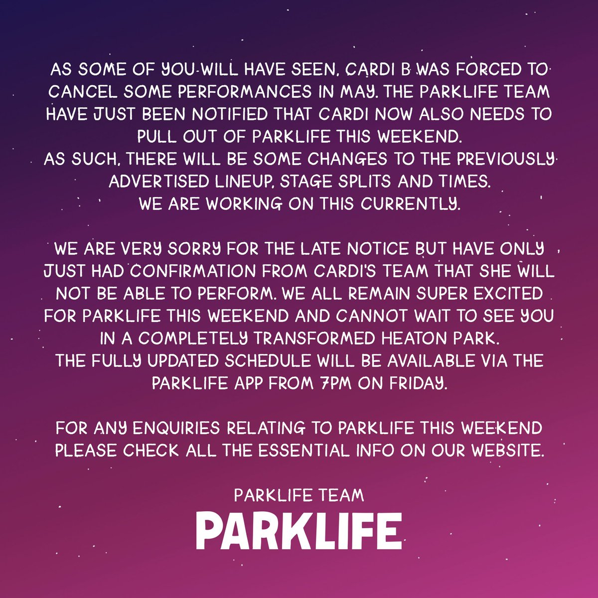 Cardi B pulls out of headlining Parklife festival this weekend