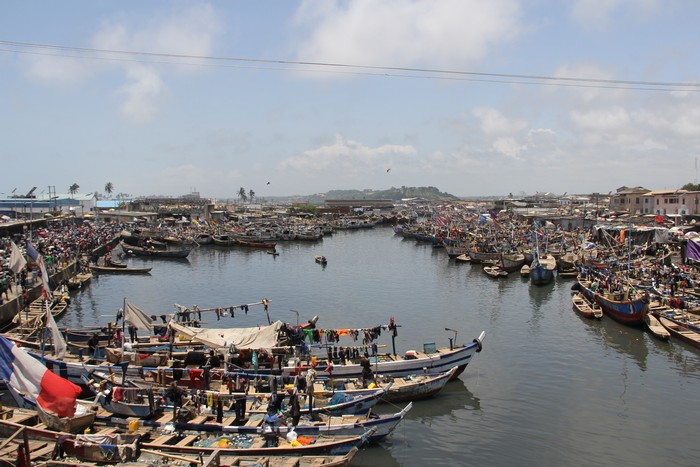 Sea of canoes dotted on the main fishing bay