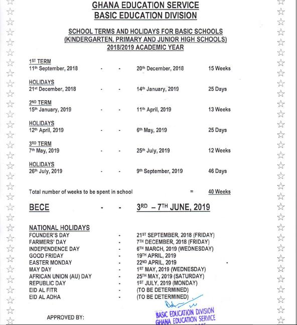 ges releases 2018 19 academic calendar for basic schools prime