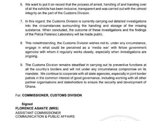 #MissingCocaine: GRA Customs Division begins investigation