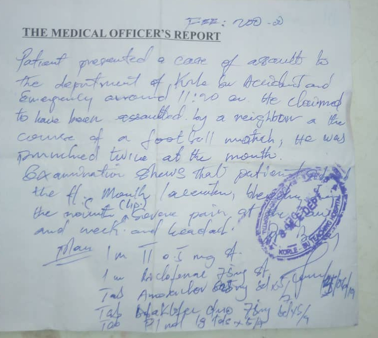 Medical examination report signed by physician on duty at the Korle Bu hospital