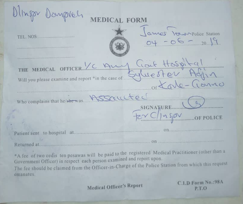 Police medical report form issued to the footballer