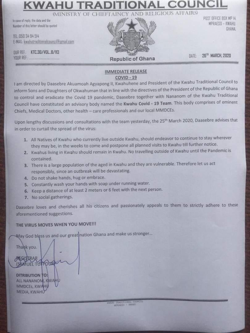 Covid-19 : Postpone any planned visits to Kwahu until further notice - Traditional Council to natives 1