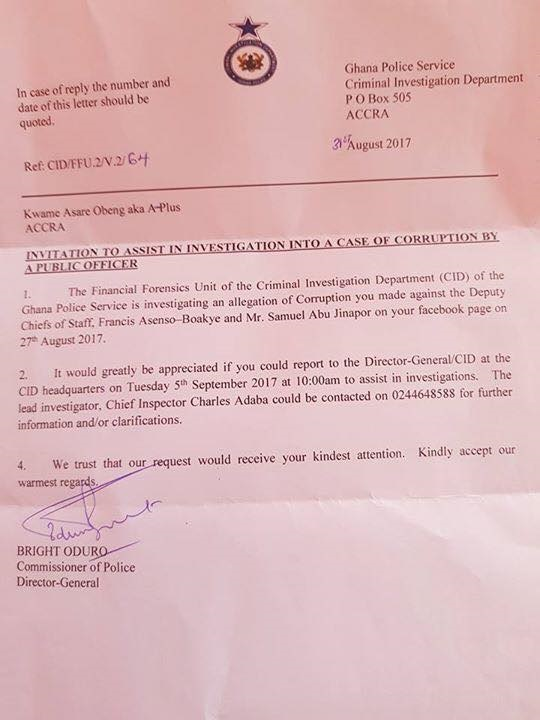Cid issues second invitation letter to a plus prime news ghana primenewsghana ghana news stopboris Images
