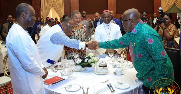 President Akufo Addo and clergy