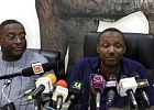 Mr John Boadu (right) addressing the media. On his right is the NPP's Director of Communications, Yaw Boaben Asamoa
